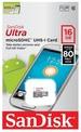 כרטיס זיכרון SanDisk Ultra micro SDHC 16GB SDSQUNB-016G-GN3MN